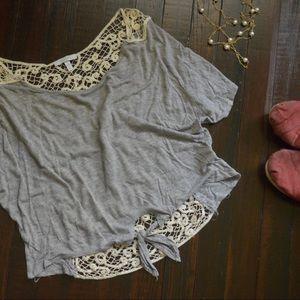 Crochet Tie-front Blouse